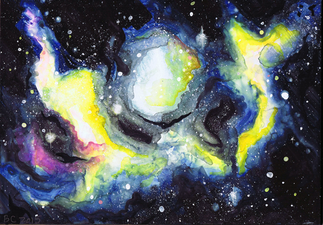 Beach Ball Toss Galaxy Cosmic Space Nebula Gouache Painting | Beth Carson