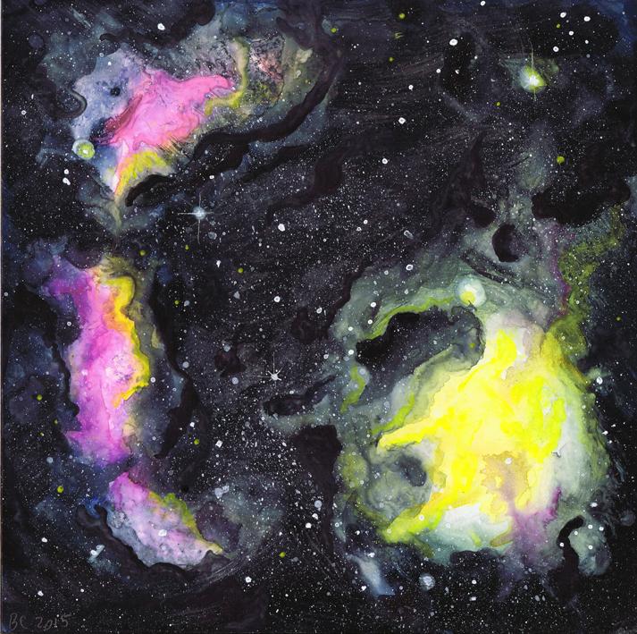 Kiwi Galaxy Gouache Space Painting | Beth Carson