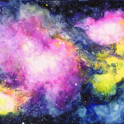 Rose Galaxy Gouache Space Nebula Painting | Beth Carson