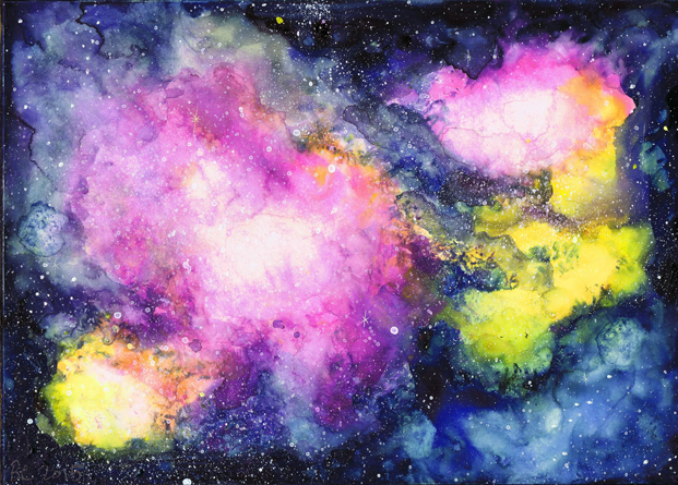 Rose Galaxy Gouache Space Nebula Painting | Beth Carson