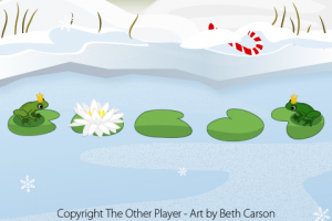 Winter Scene Frogs Mock-up Game Art - The Other Player Art by Beth Carson