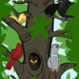Coloured Tree Scene Mock-up- Copyright The Other Player - Art by Beth Carson