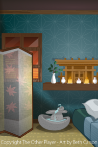 Zen Hotel Room Background Layout Art for Game - The Other Player Art by Beth Carson