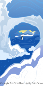 Ice Cave Penguin Background Art for a Game - The Other Player Art by Beth Carson