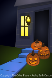 Pumpkins on Doorstep Layout Art for Games - The Other Player Art by Beth Carson