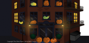 Pumpkin city scene – copyright The Other Player, Art by Beth Carson