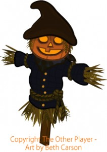 Jack-o'-lantern scarecrow game art – copyright The Other Player, Art by Beth Carson