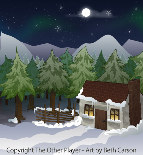 A Snowy Stone Cottage Scene - Game Layout