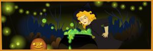 Witch, Jack o' Lantern & Cauldron | Art by Beth Carson