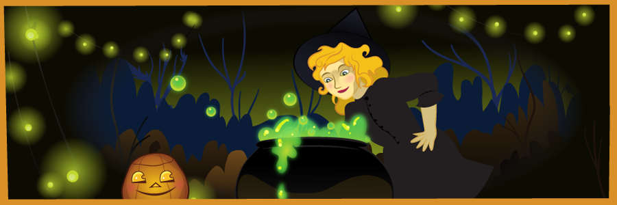 Witch, Jack o' Lantern & Cauldron | Art by Beth Carson