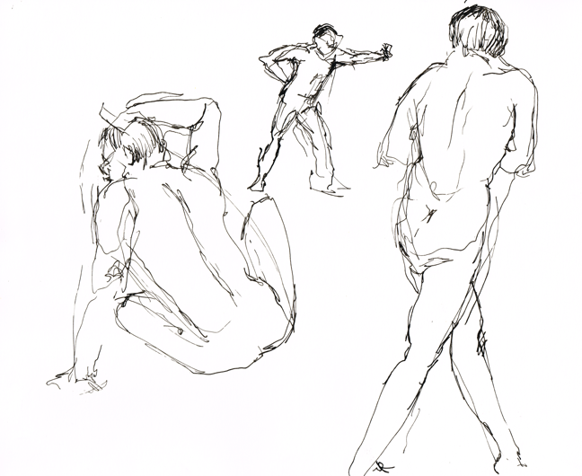 Life Drawing Ink Men Poses | Beth Carson