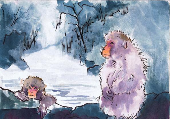 Two Grumpy Snow Monkeys by an Onsen -Beth Carson www.bethcarson.co.uk