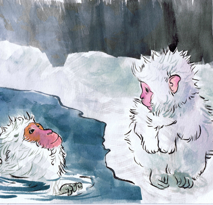 Two Snow Monkeys in an Onsen - Beth Carson www.bethcarson.co.uk