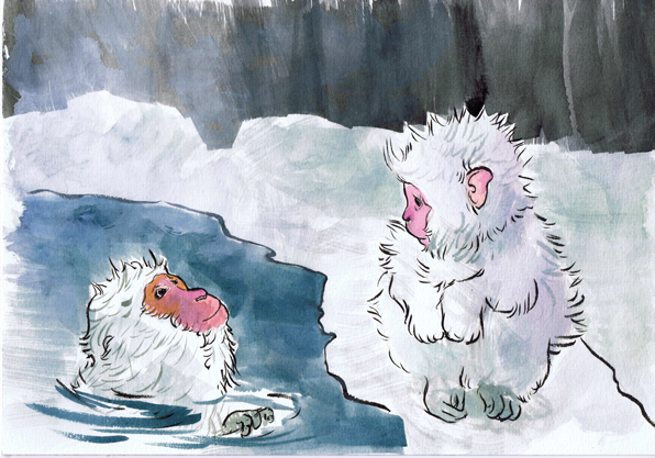 Two Snow Monkeys in an Onsen - Beth Carson www.bethcarson.co.uk